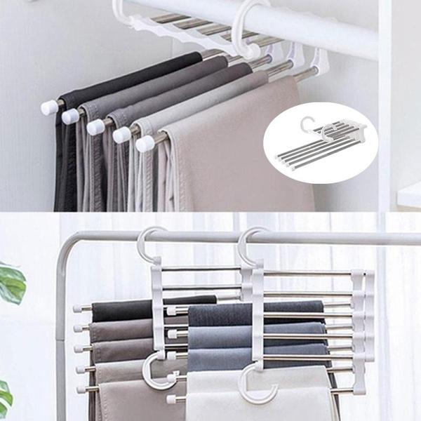 Magic Pants Rack Shelves 5 in 1 Stainless Steel Multi-functional Wardrobe Hanger