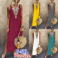 Deep V-Neck, bohemia, Summer, Dresses