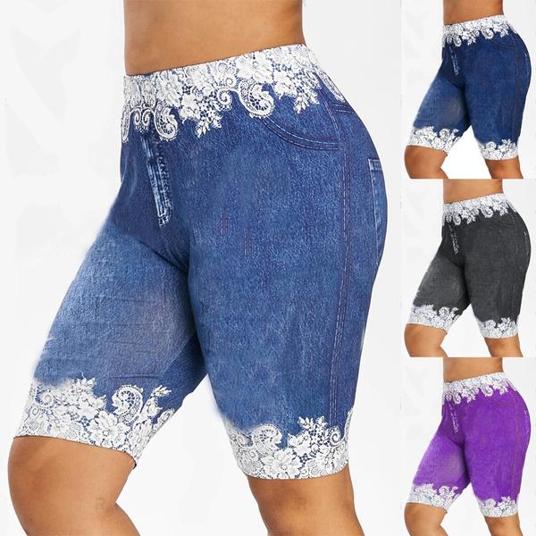 Summer, Leggings, Plus Size, caprisdenimpant