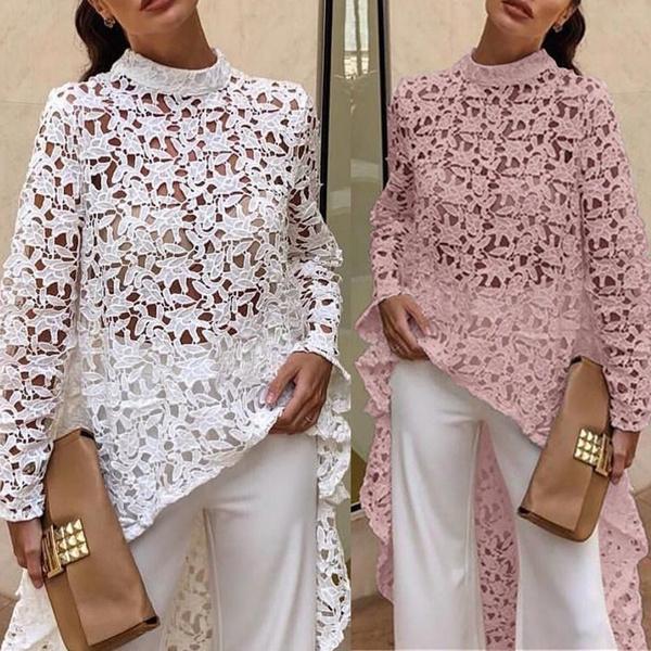 Women S Lantern Long Sleeve Round Neck High Low Asymmetrical Irregular Hem Casual Tops Blouse Shirt Dress Wish