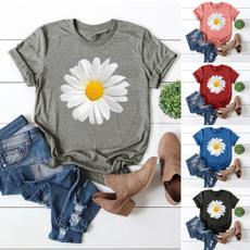 daisyprint, environmental protection, o-neck, cottontee