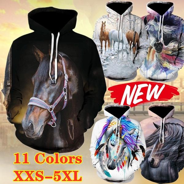 Unisex Couples 3D Animal Print Hooded Hoodies Pullover Sweatshirt Jumper Casual