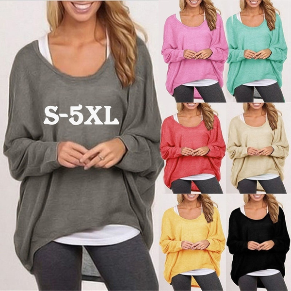 Fashion Women Batwing Sleeve Baggy Oversized Loose Wear Long Tops Blouse T-Shirt