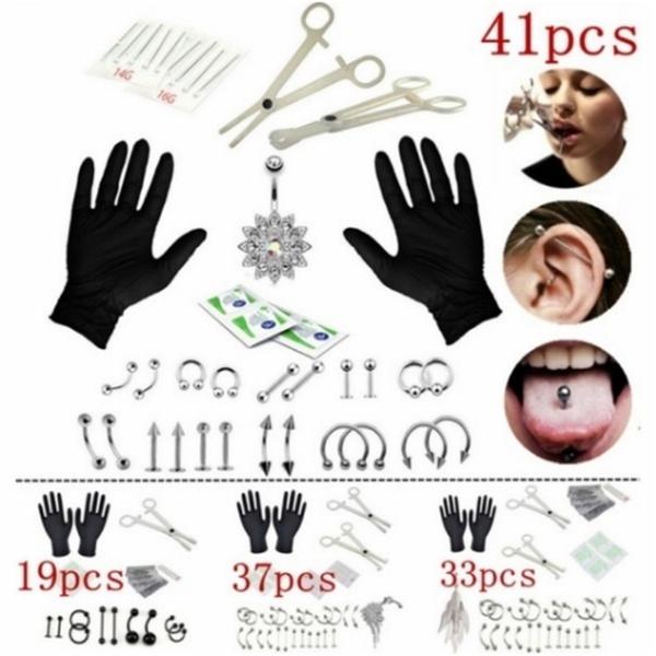 15pcs Professional Body Piercing Tool Kit Ear Nose Navel Nipple Needles Set