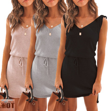 Summer, bandage dress, Tunic dress, short sleeves