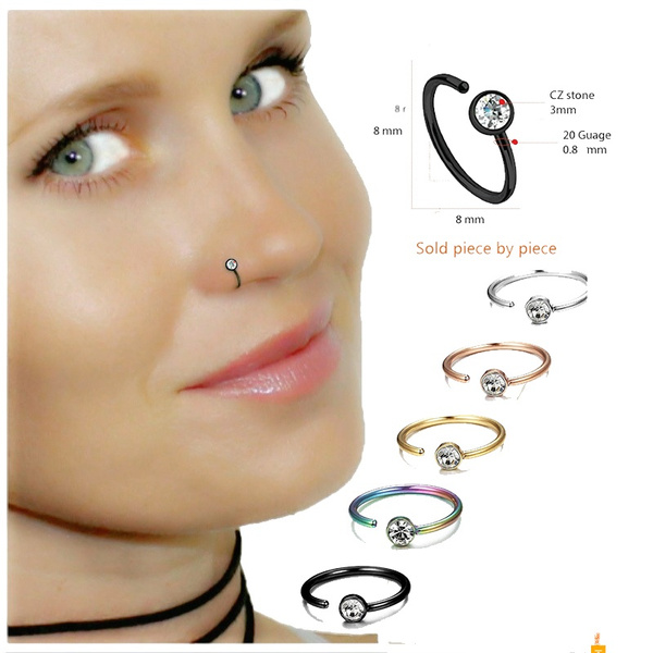 Diamond Fake Piercing Nose Ring Clip On Nose Ring Faux Nose Ring