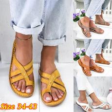 beach shoes, leathersandalsforwomen, wedge, flatthongsandal