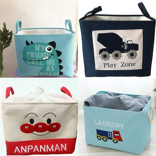 Laundry Basket Nursery Hamper for Girls Baby Kids Cartoon Foldable Toy Box Organizer Storage Bins Pink Toy Storage Basket