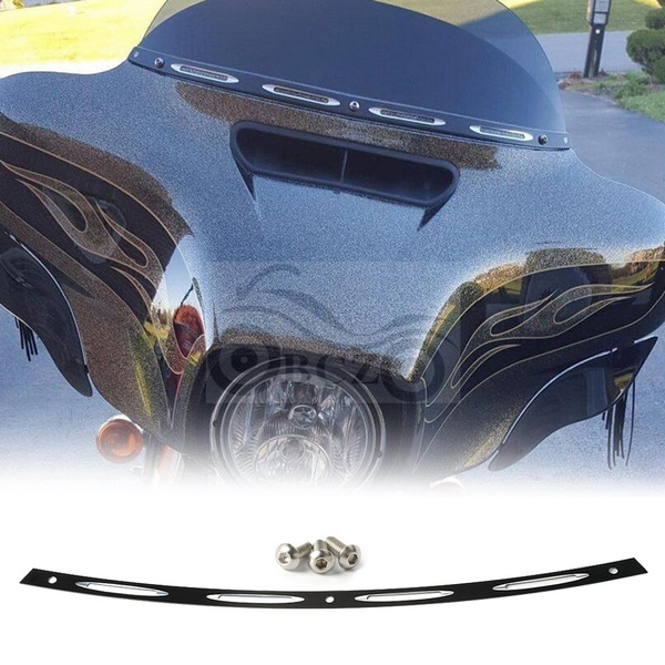 Black 4 Slot Windshield Trim Batwing Fairing For Harley Touring Electra Glide
