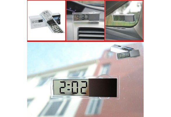 Car Ornaments Digital LCD Display Car Electronic Clock With Sucker Cool