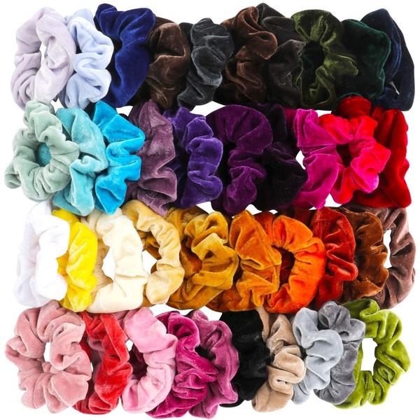Women Girls Scrunchy Hair Ties Colorful Scrunchie Scrunchies Accessories Velvet