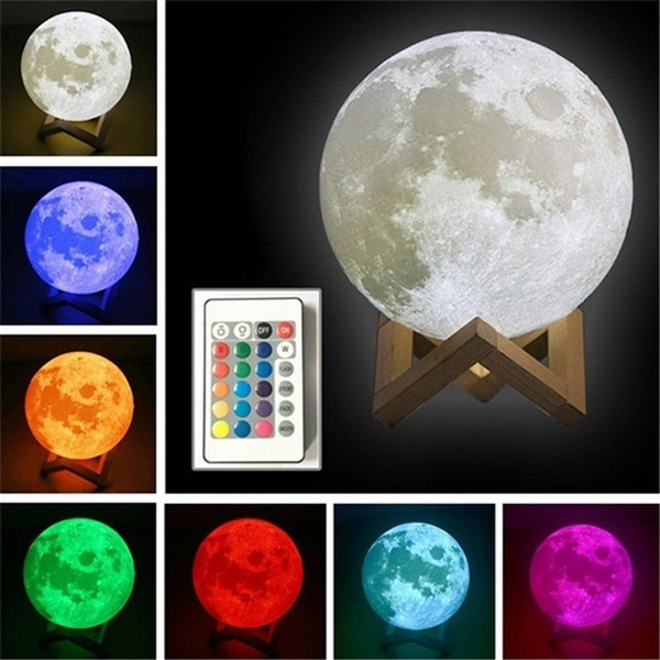 3D Moon Lamp Moonlight USB LED Night Lunar Light Touch 16 Color Changing 8-20CM