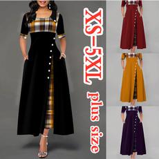 long skirt, Plus Size, Print Dresses, Necks