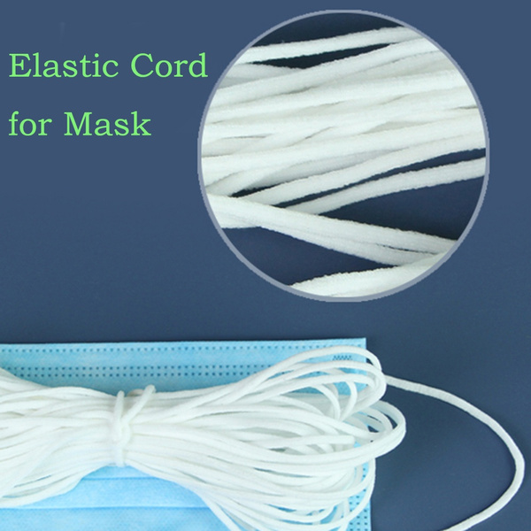 3mm White Round Elastic Band Cord For Mouth Mask Crafts Costume Clothing Stretchy Diy Materials 10m Length Wish