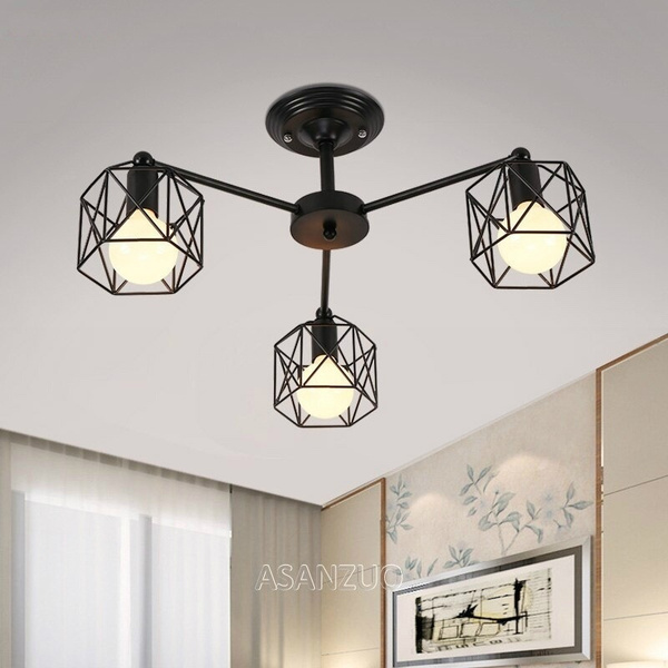 Modern Black Chandelier Lighting American Iron Cage Ceiling Lamp Light Fixtures Kitchen Luminiare Bedroom Living Room Home Light Wish,Navy Blue Accent Wall Living Room Ideas