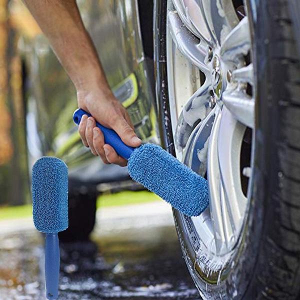 Blue 1pc Wheel Brush Car Washing Brush Rim Tire Detail Brush Detail Cleaning Wheel Brush for Car