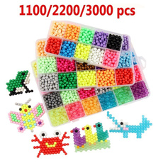 Rmeet Fuse Beads,3000 beads 24 colors Fuse Beads Kit Non Ironing Water Glued Beads Full Set Art Craft Toys for Kids Beginners
