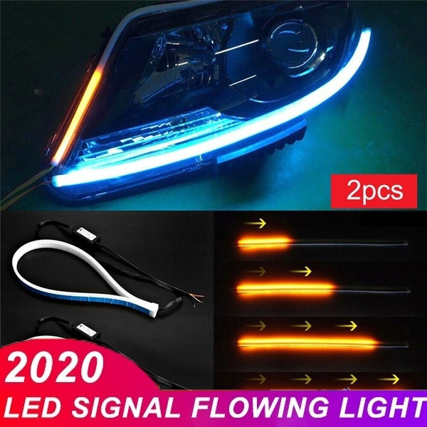 2Pcs 45//60cm Flexible Tube Car LED Strip DRL Daytime Running Light Turn Signal