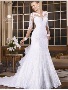 Sexy Wedding Dress, mermaidweddingdres, roundneckweddingdres, laceweddingdres