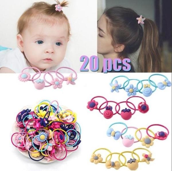 20Pcs Baby Girl Hair Bows Elastics Ponytail Holder Elastic Head Loop Hair Ties