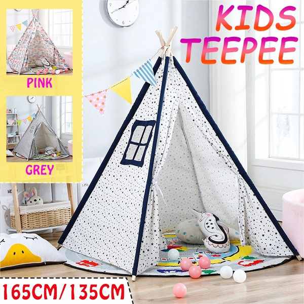 Large Canvas Kids Children Teepee Cotton Playhouse Tent WIGWAM Indoor Outdoor