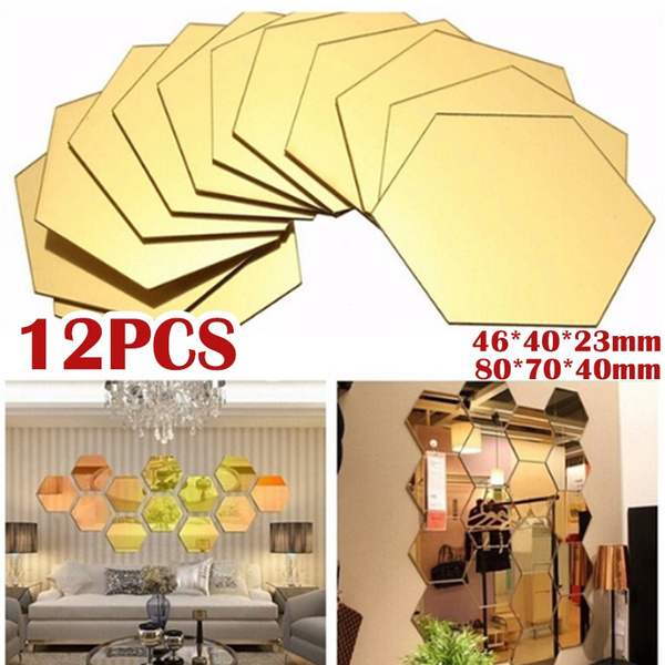 12pcs Silver Gold Modern Acrylic Mirror Wall Stickers 3d Mirror Hexagon Vinyl Removable Wall Sticker Decal Home Decor Art Diy 46 40 23mm 80 70 40mm Wish