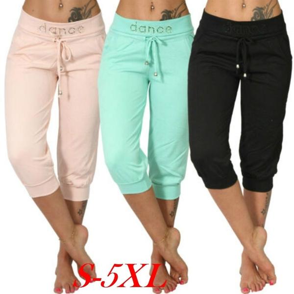Women Pants, capripant, elastic waist, Waist