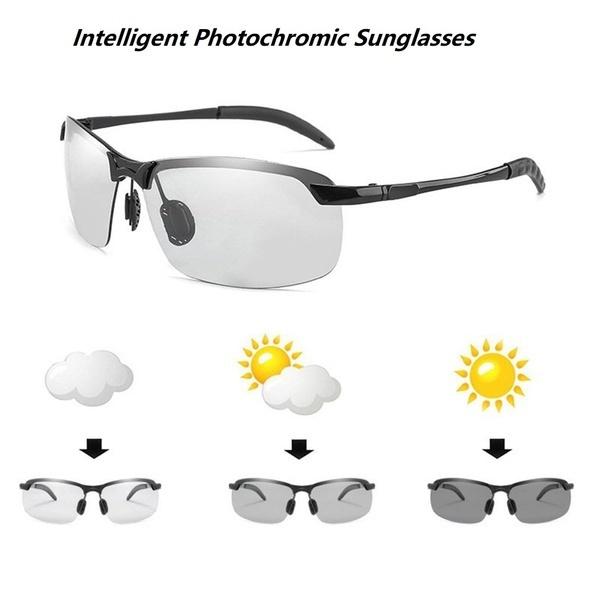 Pochromic Sunglasses Men Polarized Chameleon Discoloration Sun Glasses Outdoo...