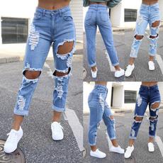 Plus Size, Waist, pants, rippedjean