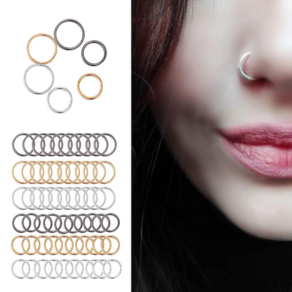 60pcs Set Women Men Black Gold Sliver Circle Piercing Earrings