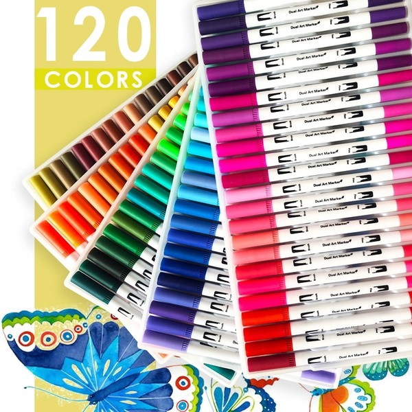 120 Colors Art Markers Dual Tips Coloring Brush Pen Fineliner Color Water Marker School Art Supplies For Drawing Coloring Book Wish