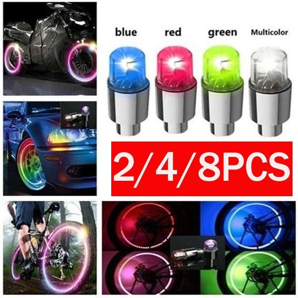 2//4//8PCS LED Wheel Tyre Tire Valve Caps Light Bulb for Bike Car Bike Motorcycle