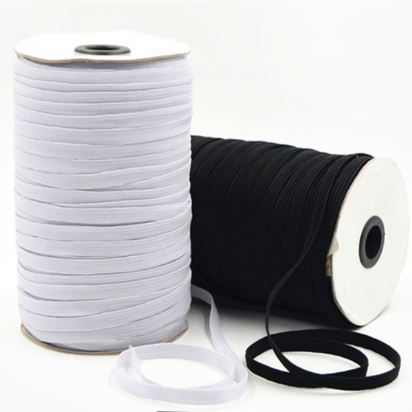 5yards 3//6//8//10//12mm White//Black Elastic Sewing Elastic Band Elastic Rope Ribbon