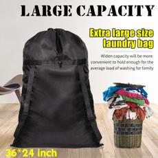 Black Drawstring Laundry Bag Extra Large Travel Nylon Waterproof Storage 70x90cm
