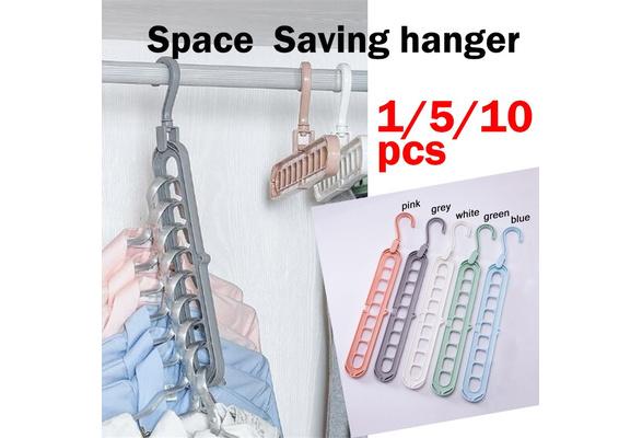 5//10pcs 9-hole Space Save Hanger 360 Rotating Multifunction Folding Magic Hanger