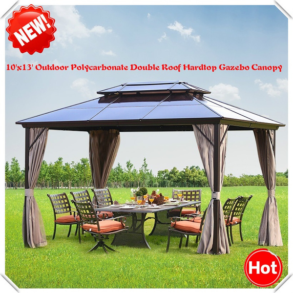 New Outdoor Hardtop Gazebo Canopy Curtains Aluminum Furniture With Netting For Garden Patio Lawns Parties 10 13 Wish