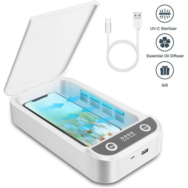 Aromatherapy Function Disinfector UV Cell Phone Sanitizer Cell Phone Cleaners Sanitizer Box for iOS Android Smartphones Or More Portable USB UV Light Sterilizer