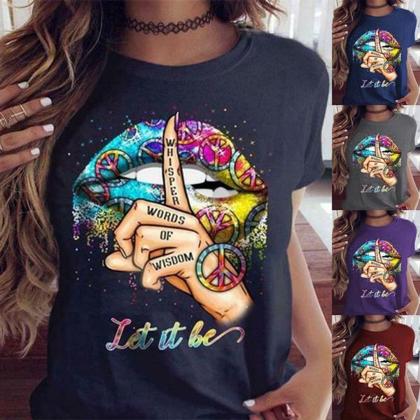 Summer, Plus Size, Colorful, print shirt
