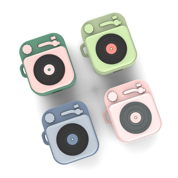 Pods Case Cartoon Cute Soft Silicone Kawaii Phonograph Airpod