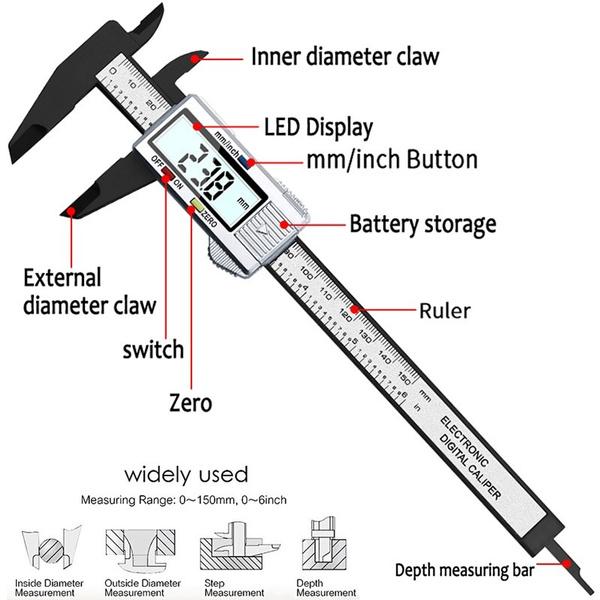 "150mm 6/"" Digital Caliper Electronic Gauge Carbon Fiber Vernier Micrometer Ruler"