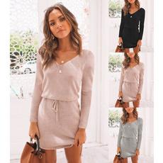 Mini, Spring/Autumn, Long Sleeve, Dress