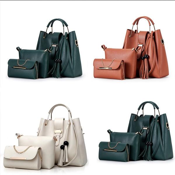 NEW Women/'s Casual Leather Tassel Bucket Tote Bag Large Shoulder Shoulder Bags