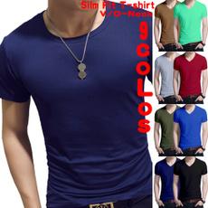 summer t-shirts, solidcolorshirtsformen, Slim T-shirt, Fitness
