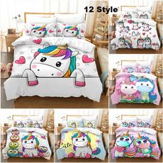 cartoonbeddingset, unicornbedsheet, Decor, bedroomdecor
