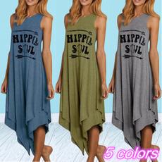 sleeveless, Fashion, letter print, long dress