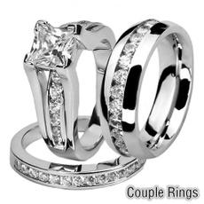Steel, 925 sterling silver, Princess, fashion ring
