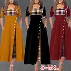 Plus Size, Plaid Dress, Manga, long dress