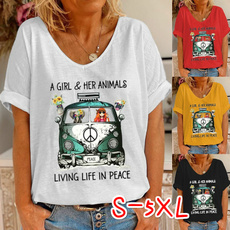 Summer, Plus Size, letter print, Graphic Shirt