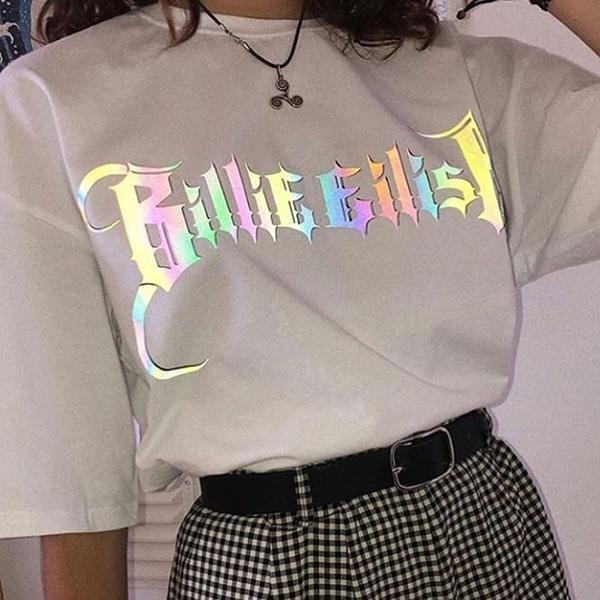 New Harajuku Female Tshirt Billie Eilish Print Short Sleeve Tops Tees Fashion Casual T Shirt Women Clothing T Shirt Streetwear Wish