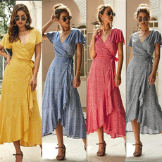 Summer, short sleeve dress, Floral print, Vestidos